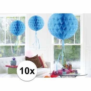 10x feestversiering decoratie bollen baby blauw 30 cm