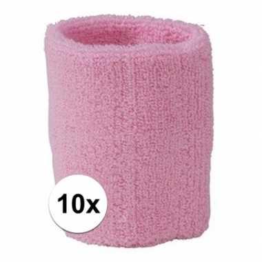 10x lichtroze zweetbandje voor pols
