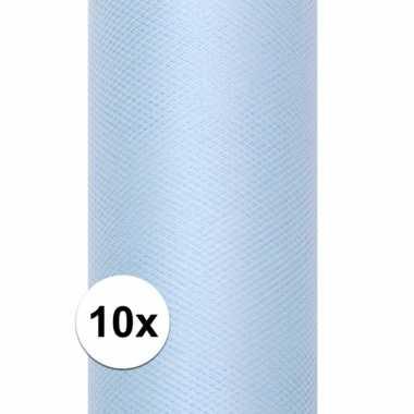 10x rollen tule stof lichtblauw 0,15 x 9 meter