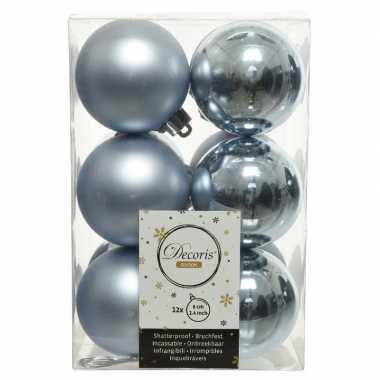 12x lichtblauwe kerstballen 6 cm kunststof mat/glans