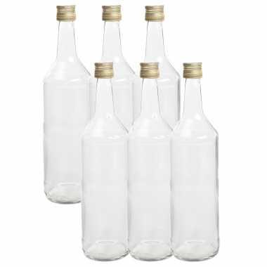 12x stuks diy glazen cadeau/decoratie flesjes 1000ml/1ltr met dop 8,5 x 30 cm