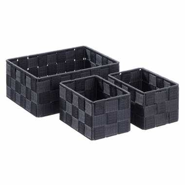 12x zwarte badkamer/babykamer opberg mandjes