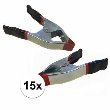 15x lijmklemmen / marktklemmen 15 cm