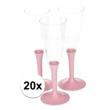 20x glazen met roze voet