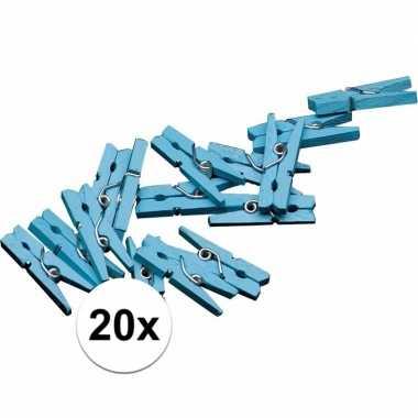 20x mini knijpers blauw