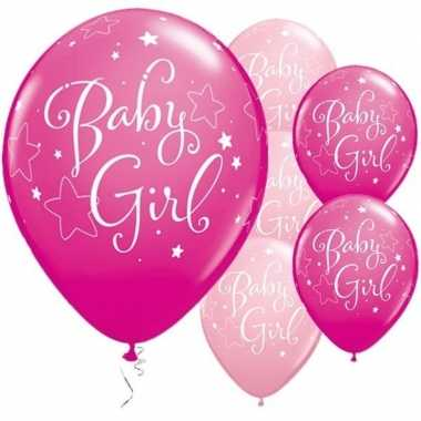 25x geboorte ballonnen meisje 28 cm