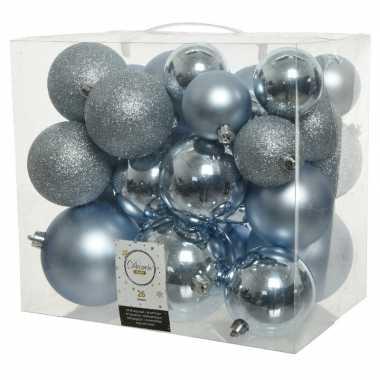 26 stuks lichtblauwe kerstballen 6-8-10 cm kunststof