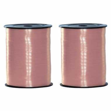2x rollen baby sier cadeau roze lint 500 meter x 5 milimeter breed