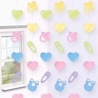 2x stuks deurgordijnen babyshower/gender reveal hangdecoratie feestartikelen 200 x 80 cm