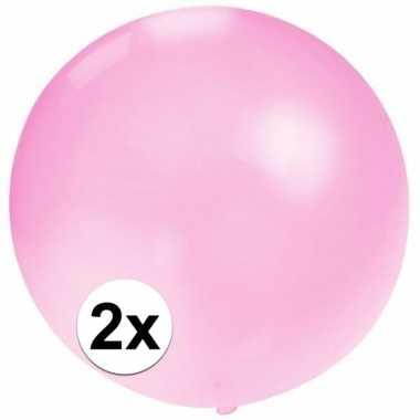 2x stuks grote ballonnen van 60 cm baby roze