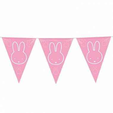 2x stuks roze nijntje vlaggenlijnen geboorte meisje