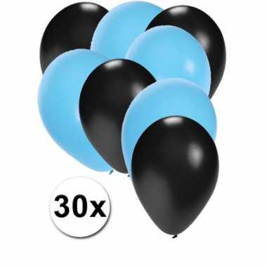 30x ballonnen zwart en lichtblauw