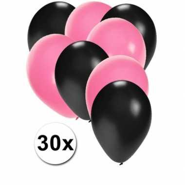 30x ballonnen zwart en lichtroze