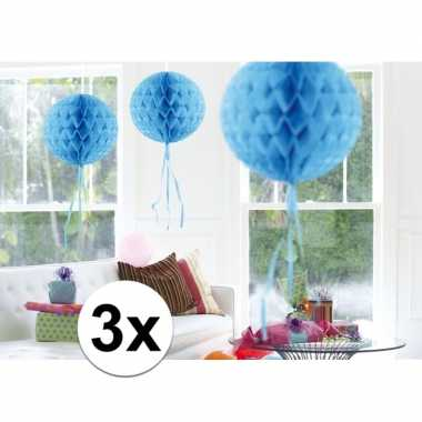 3x feestversiering decoratie bollen baby blauw 30 cm