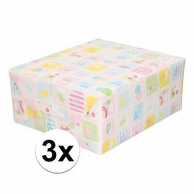 3x inpakpapier/cadeaupapier baby 200 x 70 cm pastel print