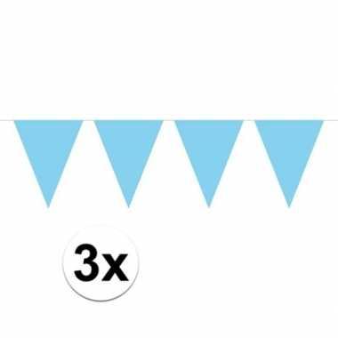 3x mini vlaggenlijn / slinger versiering baby blauw