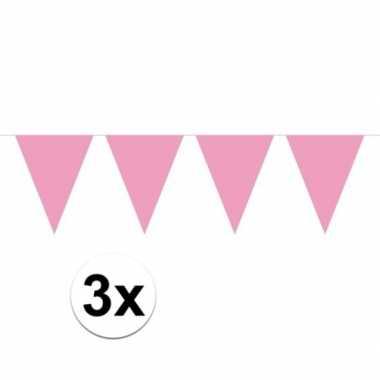 3x mini vlaggenlijn / slinger versiering baby roze