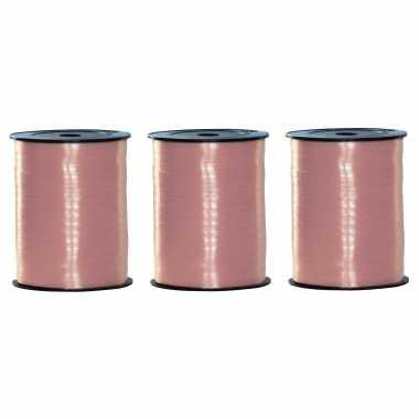 3x rollen baby sier cadeau roze lint 500 meter x 5 milimeter breed