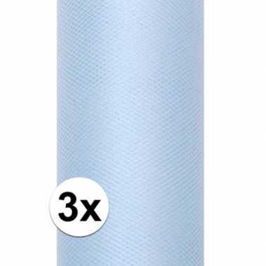 3x rollen tule stof lichtblauw 0,15 x 9 meter