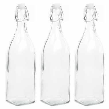 3x stuks diy glazen cadeau/decoratie flesje 1000ml/1ltr met beugeldop 8 x 32 cm