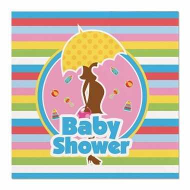 40x babyshower feest servetten gekleurd 25 x 25 cm papier