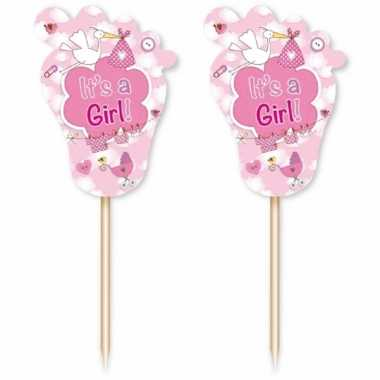 48 stuks roze cocktailprikkers geboorte meisje