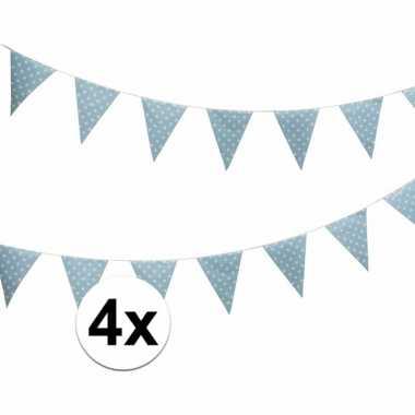 4x blauwe vlaggenlijnen met witte stippen 4 meter