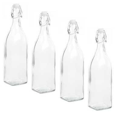 4x stuks diy glazen cadeau/decoratie flesje 1000ml/1ltr met beugeldop 8 x 32 cm