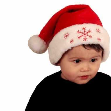 4x stuks rode baby kerstmutsen met sneeuwvlokken
