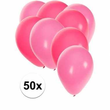 50x ballonnen roze en lichtroze