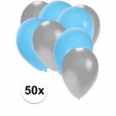 50x ballonnen zilver en lichtblauw