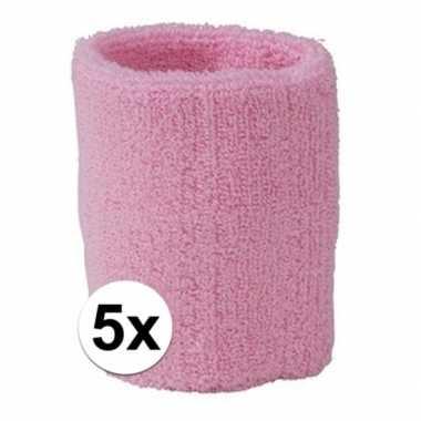 5x lichtroze zweetbandje voor pols