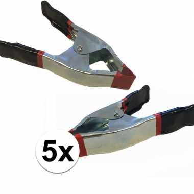 5x lijmklemmen / marktklemmen 15 cm