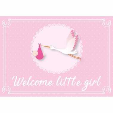 5x meisje geboren ansichtkaart/wenskaart ooievaar kraamcadeau