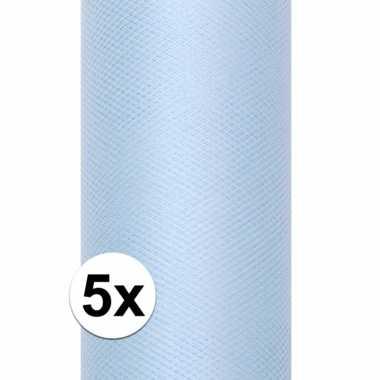 5x rollen tule stof lichtblauw 0,15 x 9 meter