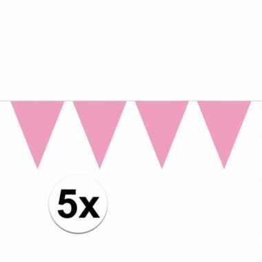 5x vlaggenlijn / slinger baby roze 10 meter