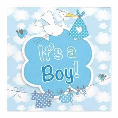 60x geboorte jongen babyshower servetten blauw 25 x 25 cm papier