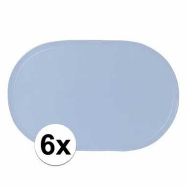 6x ovale placemats lichtblauw 43 x 28 cm