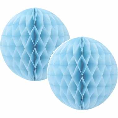 6x papieren kerstballen lichtblauw 10 cm kerstversiering