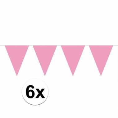 6x vlaggenlijn / slinger baby roze 10 meter