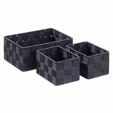 6x zwarte badkamer/babykamer opberg mandjes