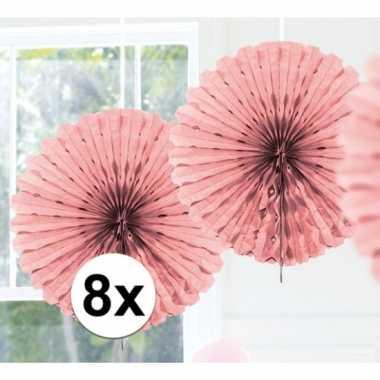 8x decoratie waaier licht roze 45 cm