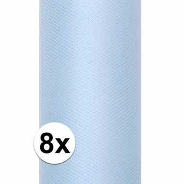8x rollen tule stof lichtblauw 0,15 x 9 meter
