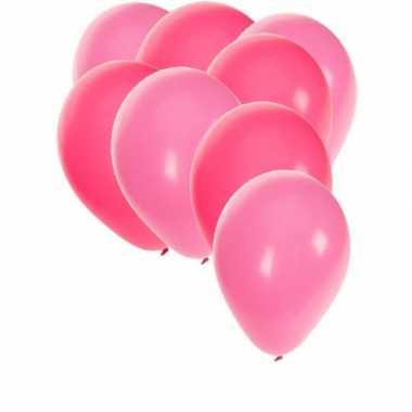90x stuks party ballonnen - 27 cm - roze / lichtroze versiering