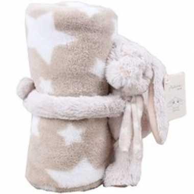 Baby/kinder beige dekentje met konijnen/hazen knuffel