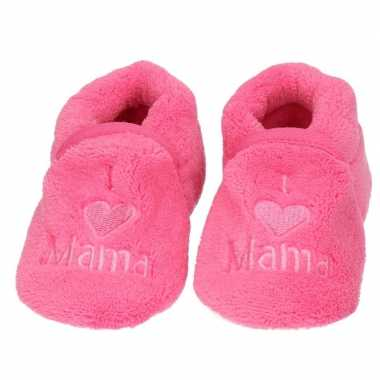 Baby pantoffels/slofjes love mama fuchsia
