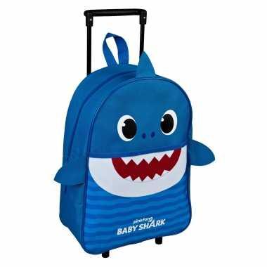 Baby shark daddy trolley/reiskoffer blauw 40 cm voor kinderen