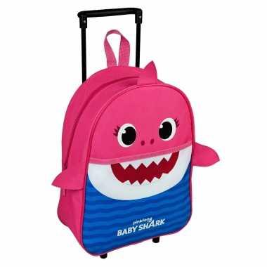 Baby shark mommy trolley/reiskoffer roze/blauw 40 cm voor kinderen