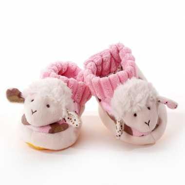 Babyslofjes wit/roze schaap/lammetje