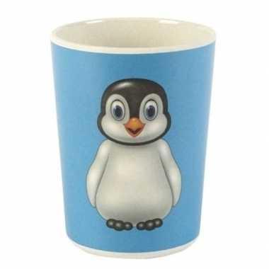 Bamboe beker met pinguin voor kinderen 8 cm